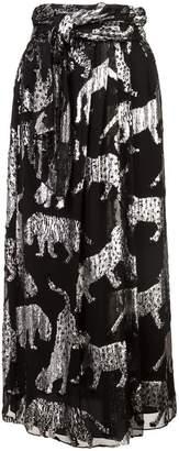 Carolina Herrera metallic print midi skirt