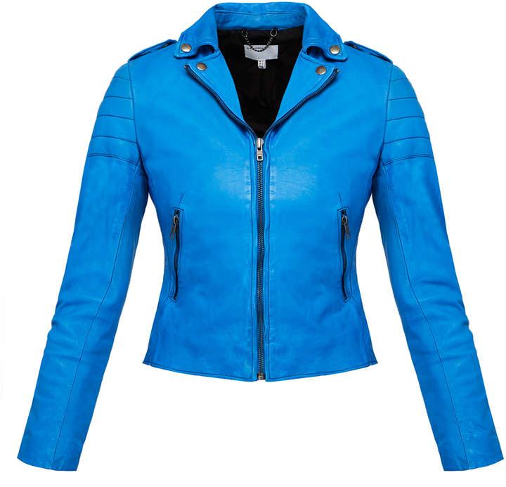 Muu Baa Muubaa Blue 'Presley' Leather Biker Jacket