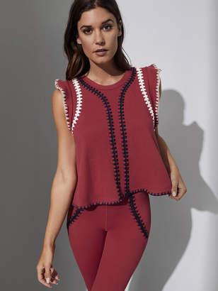 Carbon38 Crochet Flutter Sleeve Top