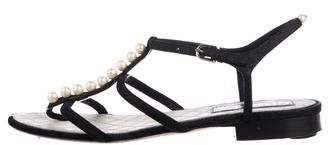 Chanel Faux Pearl Suede Sandals