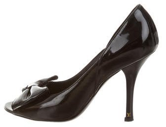 Louis Vuitton Peep-Toe Bow Pumps