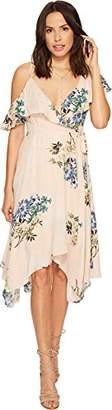 ASTR the Label Women's Yessenia Asymmetrical Ruffle Top Floral Wrap Dress