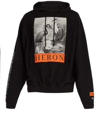 Heron Preston - Heron Printed Cotton Hooded Sweatshirt - Mens - Black