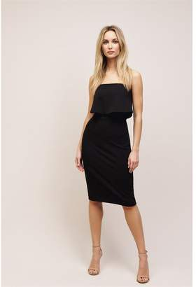 Dynamite Bodycon Dress With Ruffle Jet Black