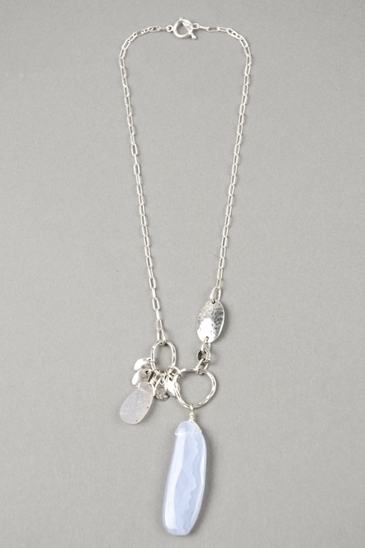 Denise Heffernan Blue Chalcedony Pink Quartz Necklace