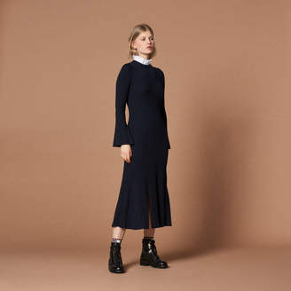 Sandro Long knit dress with high neck
