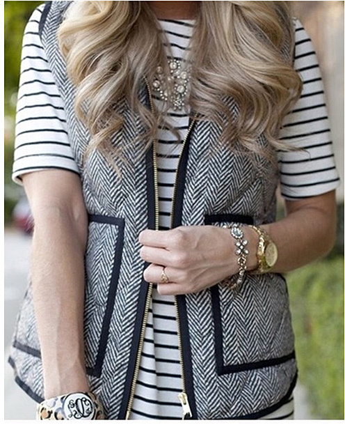 Gray Chevron Quilted Vest