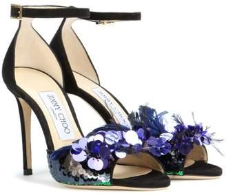 Jimmy Choo Annie 100 embellished suede sandals