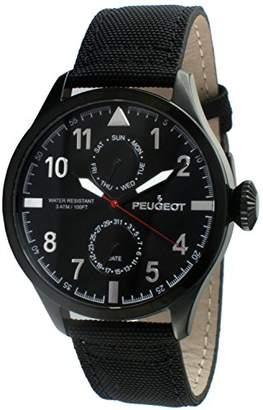 Peugeot Men's Plated Nylon Band Day Date Calendar Aviator Weekend Watch 2044BK