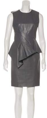 J. Mendel Mini Leather Dress Grey Mini Leather Dress
