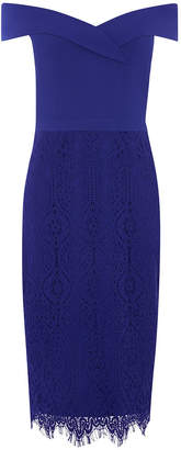 Oasis Bardot Lace Pencil Dress