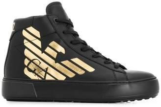 Emporio Armani Ea7 contrast logo hi-top sneakers 0b1a610a0e5