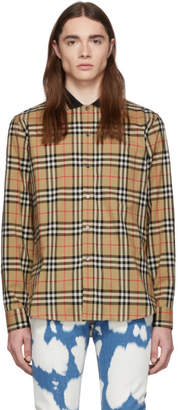 Burberry Beige Archive Check Slim Shirt