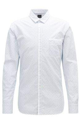 BOSS Hugo Slim-fit shirt in striped cotton Oxford contrasts M Open Blue