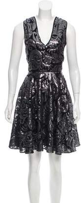 Marchesa Voyage Sequin Printed Dress