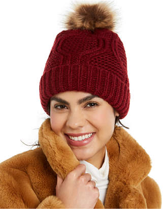 INC International Concepts Inc Cable-Shine Beanie with Faux-Fur Pom
