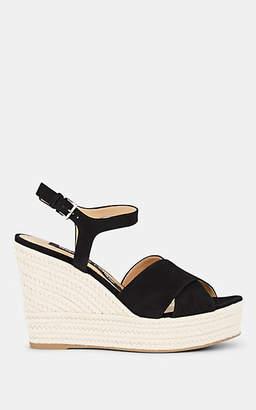 Sergio Rossi Women's Suede Platform Espadrille Sandals - Black