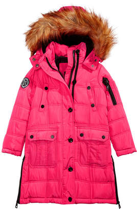 DKNY Little Girls Hooded Jacket With Removable Faux-Fur Trim
