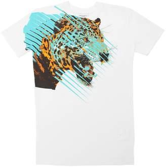 Marcelo Burlon County of Milan Leo Print Cotton Jersey Long T-Shirt