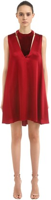 Valentino Hammered Satin & Velvet Mini Dress