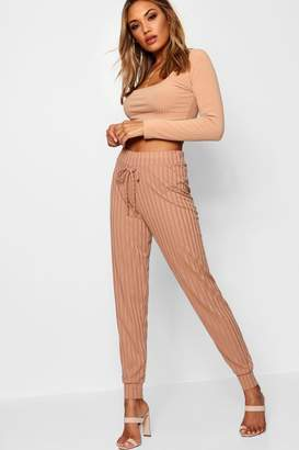 boohoo Rib Knit High Waisted Jogger