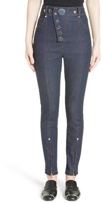 Women's Alexander Wang Snap High Waist Skinny Jeans $495 thestylecure.com