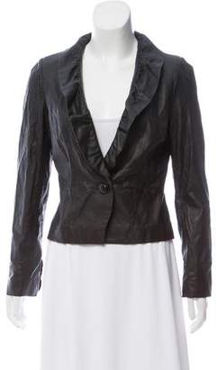 Milly Ruffle Accented Leather Jacket