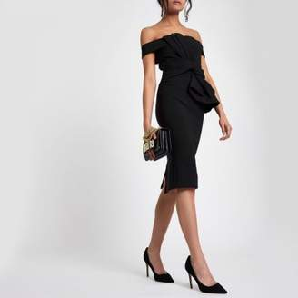 River Island Womens Black bardot tie front bodycon dress
