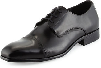 Kenneth Cole Wall 2 Wall Cap-Toe Leather Oxford, Black $149 thestylecure.com