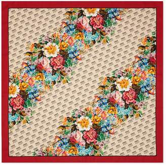 Gucci The stamp and flowers print silk scarf
