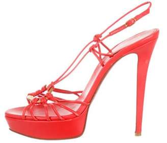Christian Louboutin Leather Platform Sandals Coral Leather Platform Sandals