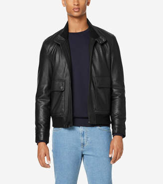 Cole Haan Leather Jacket with Knit Hem