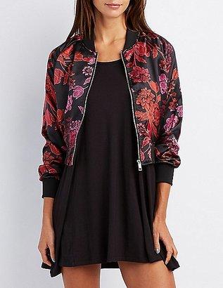 Satin Floral Bomber Jacket $36.99 thestylecure.com