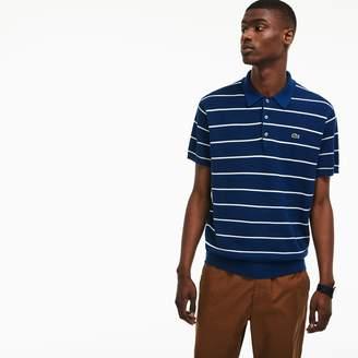 Lacoste Men's Polo Collar Striped Pique Sweater