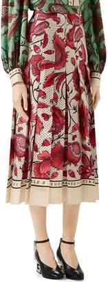 Gucci Watercolor Floral Print Pleated Silk Twill Midi Skirt