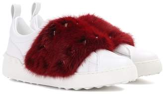 Valentino Open fur-trimmed leather sneakers