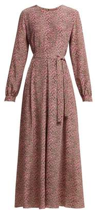 Max Mara Micro Floral Print Belted Silk Dress - Womens - Pink Print