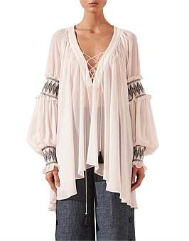Shona Joy Lace Up Oversized Blouse