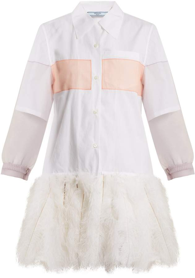PRADA Feather-embellished cotton shirtdress