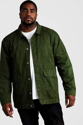 boohoo Big & Tall Cotton Twill Utility Overshirt