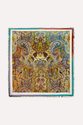 Etro Bombay Fringed Printed Wool And Silk-blend Twill Scarf - Beige