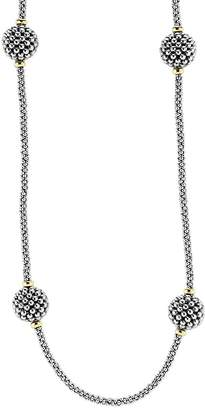 """Lagos Sterling Silver Beaded Necklace with Caviar Stations, 32"""""""