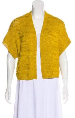 Josie Natori Short Sleeve Open Front Cardigan