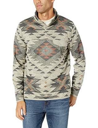 Lucky Brand Men's SHEARLESS Fleece Aztec Print Mock Neck Sweatshirt