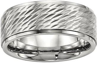 Primal Steel Primal Steel Stainless Steel Polished w/Brushed Center Ridged Edge Diamond Cut Ring