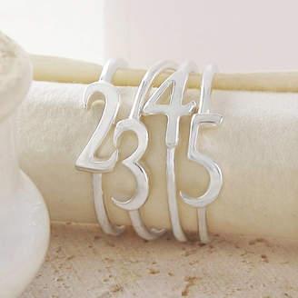 Otis Jaxon Silver Jewellery Silver Stacking Number Personalised Rings