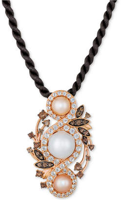 """LeVian Le Vian Cultured Freshwater White Pearl (9mm), Pink Pearl (6mm) & Multi-Gemstone (1-7/8 ct. t.w.) 18"""" Pendant Necklace in 14k Rose Gold"""