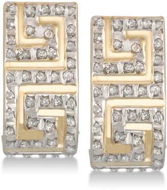 Diamond Fascination Diamond Accent Greek Key J-Hoop Earrings in 10k Gold