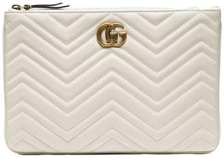 Gucci white quilted-leather GG clutch bag