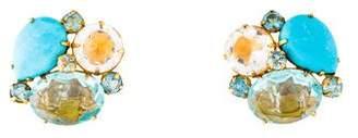 Bounkit Topaz & Turquoise Clip-On Earrings